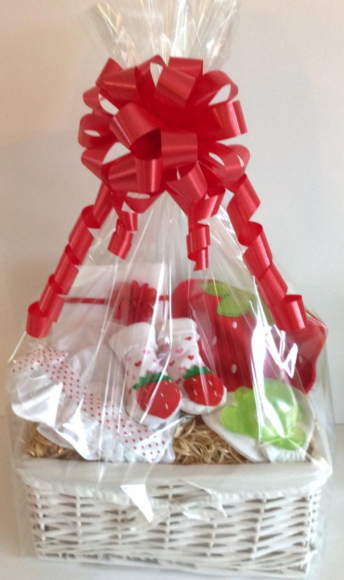 Unique baby gift basket girl strawberry