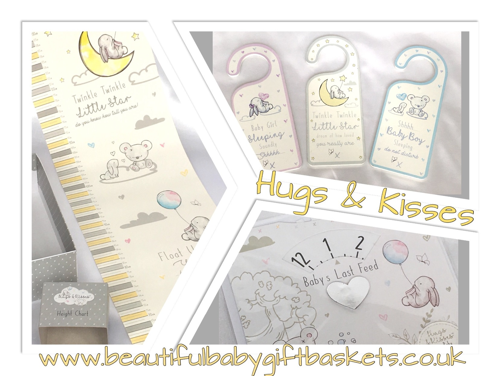 Hugs & Kisses Baby height chart feed dial door hanger