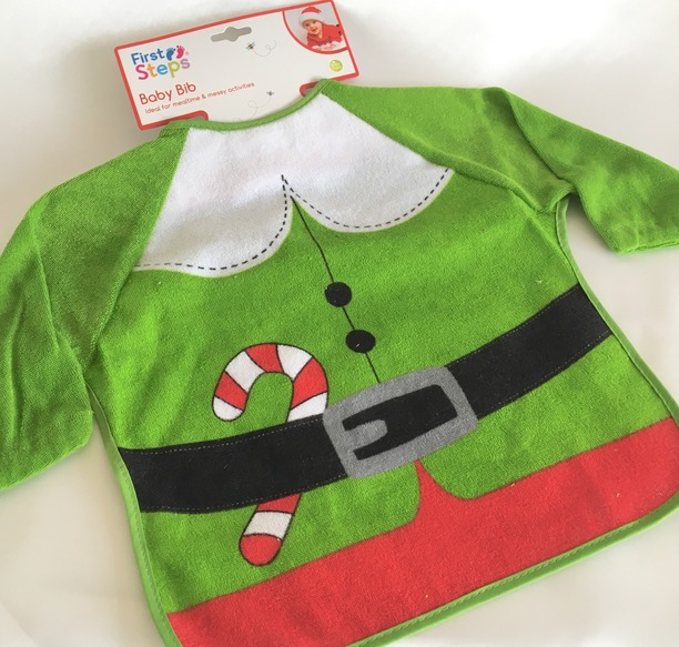 elf long sleeve christmas baby bib