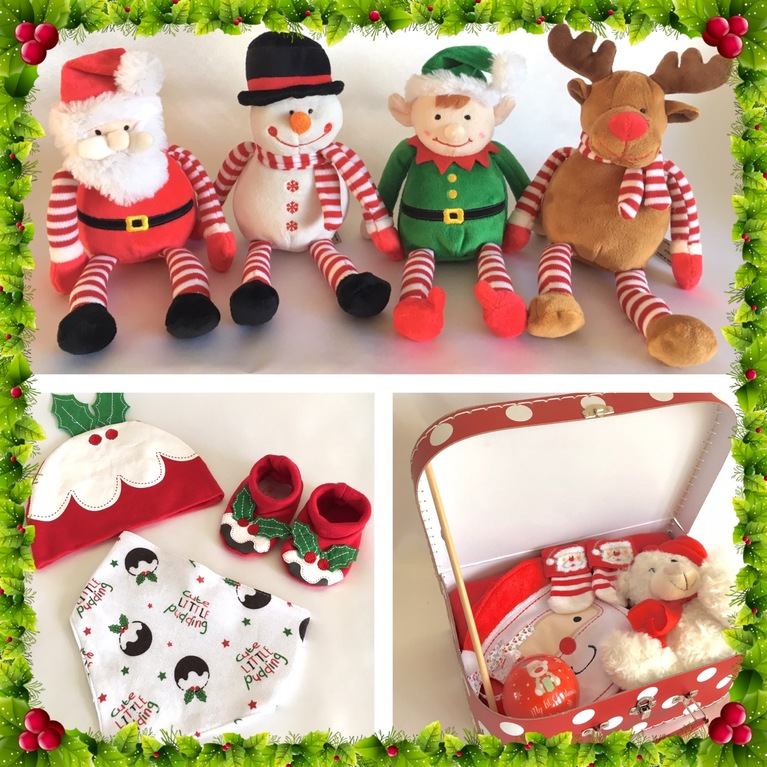 baby christmas gift pudding set soft toy elf
