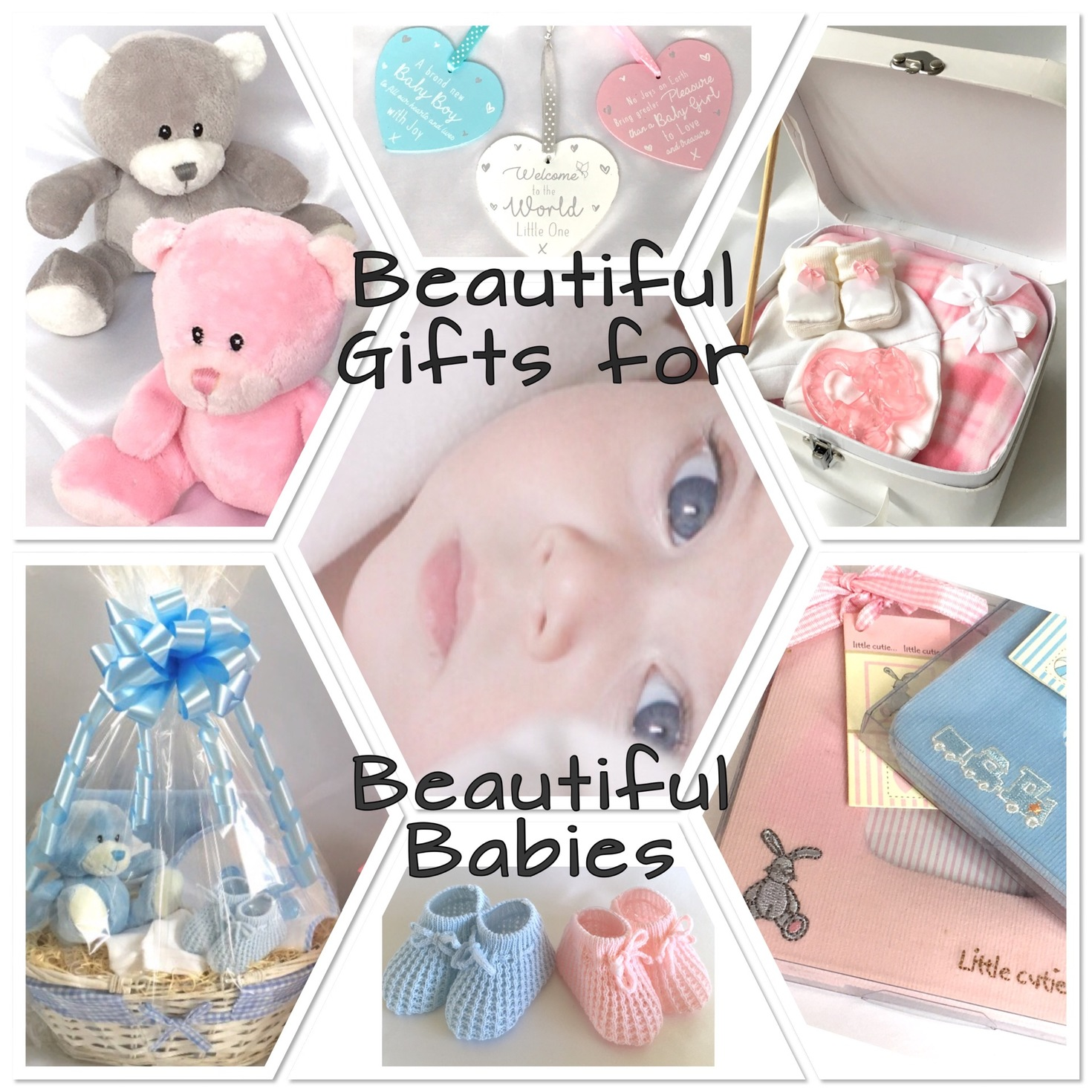 New Baby Gift Baskets teddies hampers booties Photo frmaes