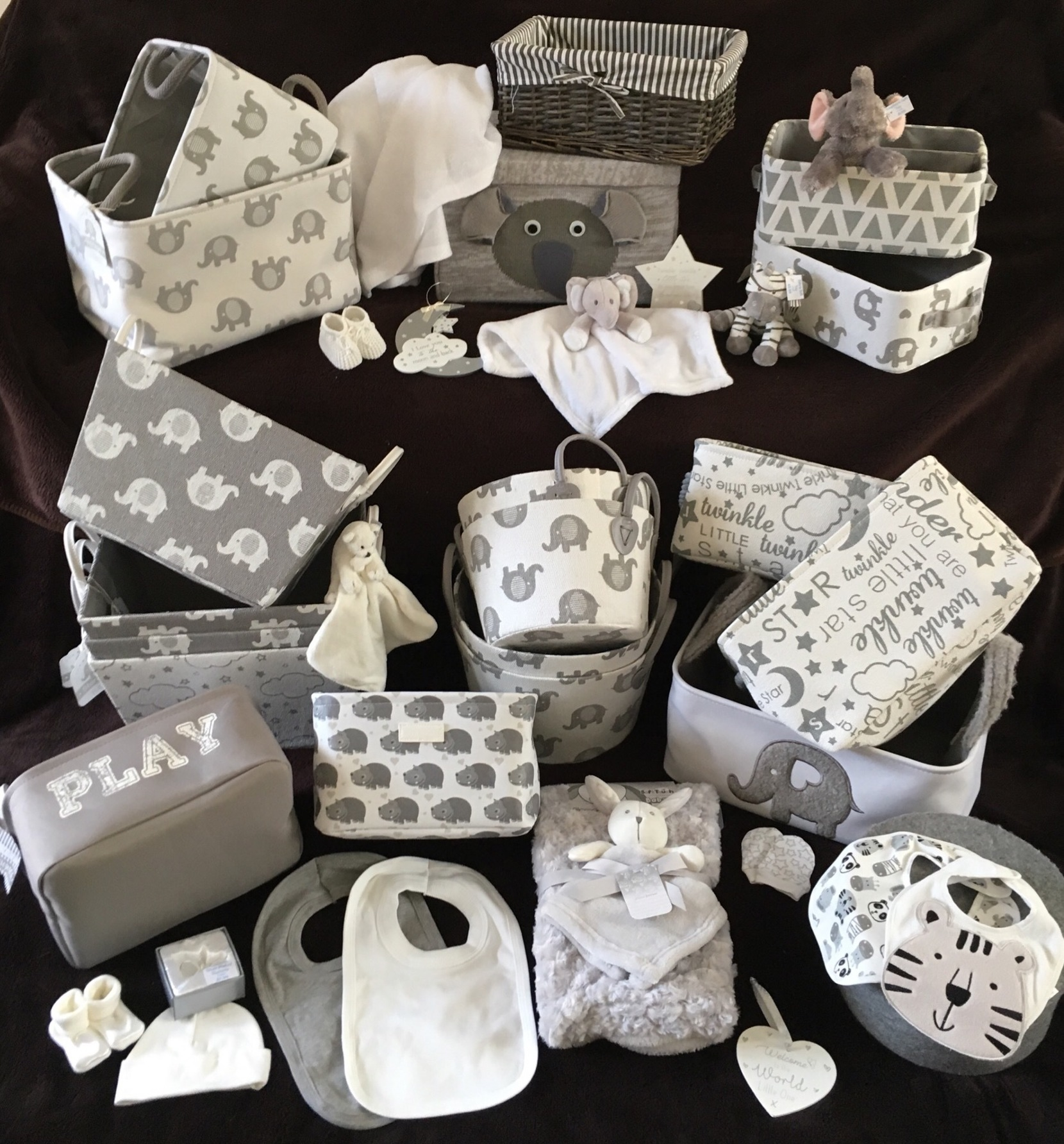 Grey white neutral baby gifts bespoke design service
