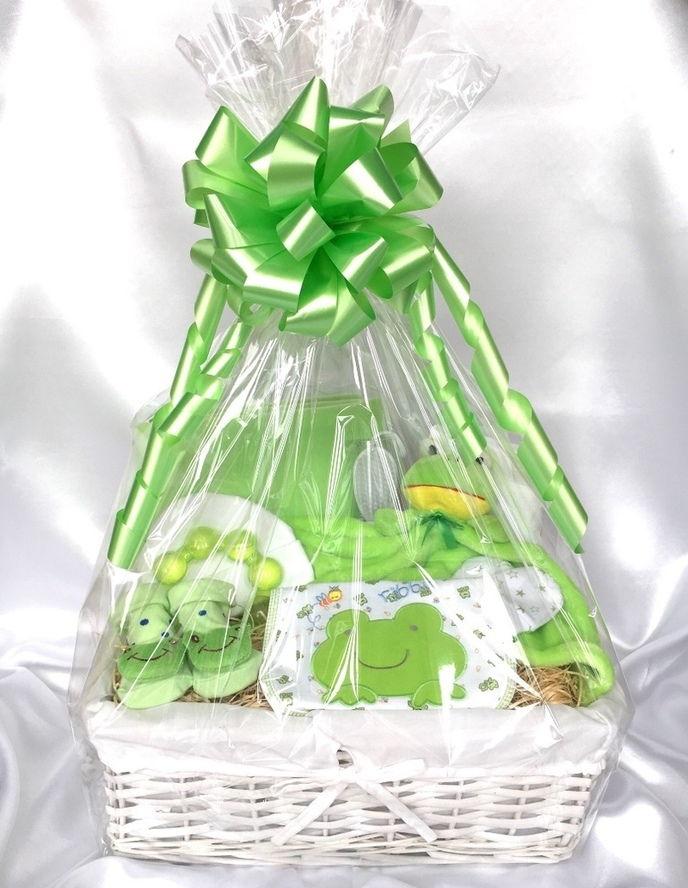 new baby frog gift basket hamper bedford