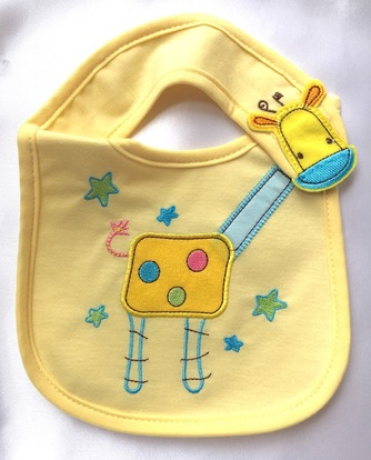 neutral baby giraffe waterproof bib