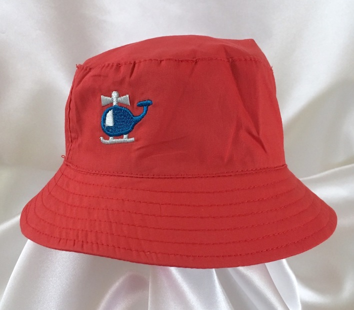 boys red helicopter sun hat
