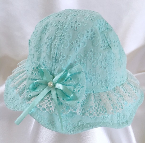 mint green baby girls summer hat