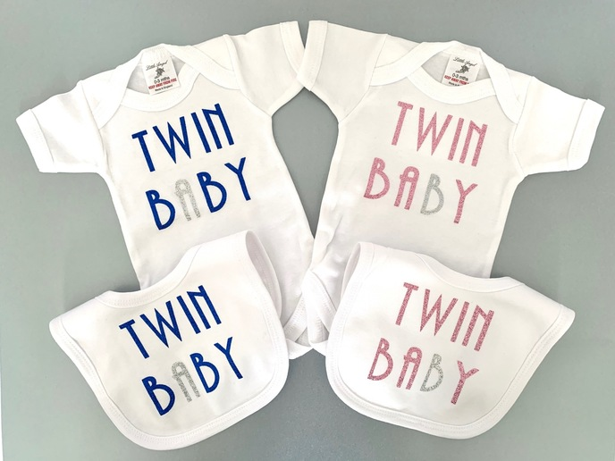 Twin baby Vests Bibs