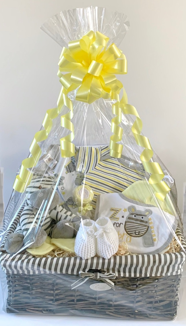 Neutral Zebra baby Gift Basket