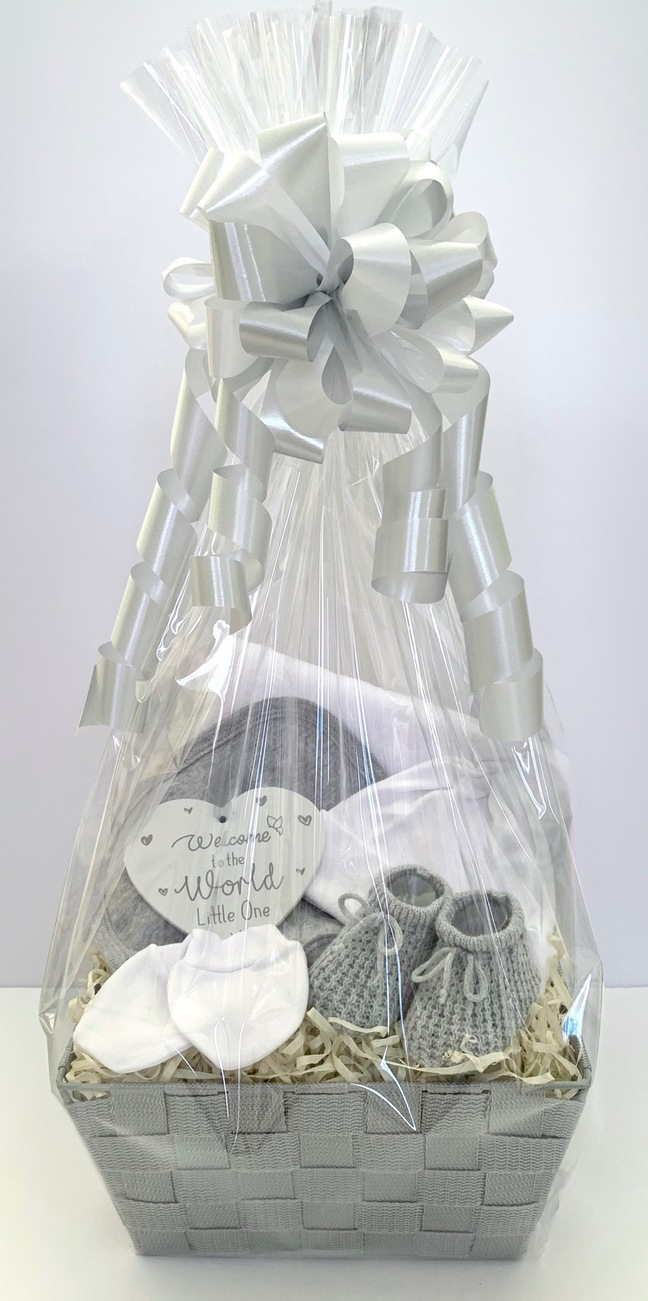 Neutral Grey Baby Gift Basket