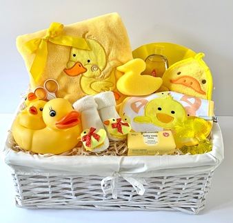 Luxury Neutral Duck Baby Gift Basket