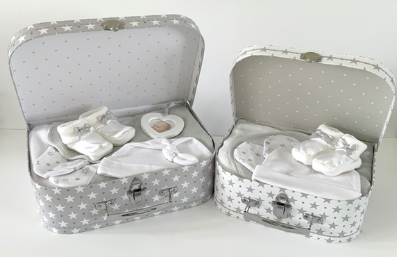 Grey Neutral Baby Suitcase Gifts