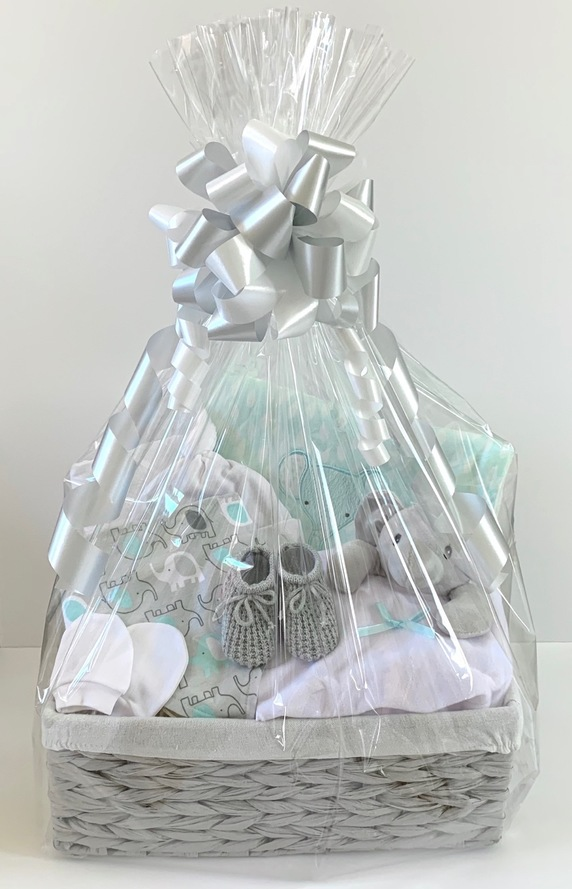 Mint & Grey Neutral baby Gift Basket