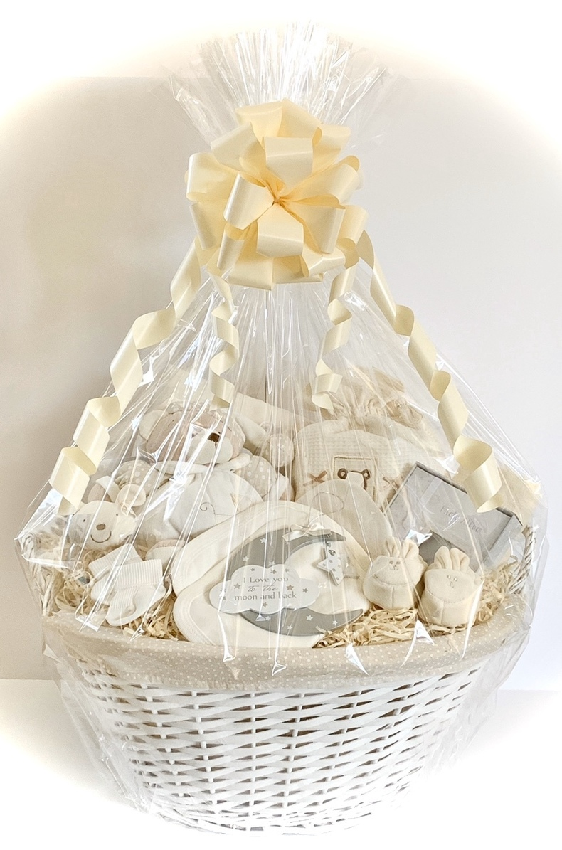 Large neutral baby gift basket