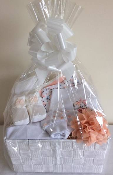 Pretty peach baby Girl Gift basket