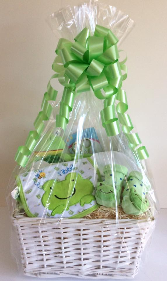 Funky Frog Neutral Baby Gift Basket Unique gift