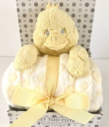 Duck soft toy and baby blanket set